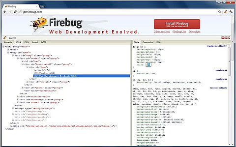 Firebug Lite Chrome Extension: Screenshot