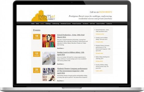 Web Design Portfolio - Case Study - Events at Milton Abbey