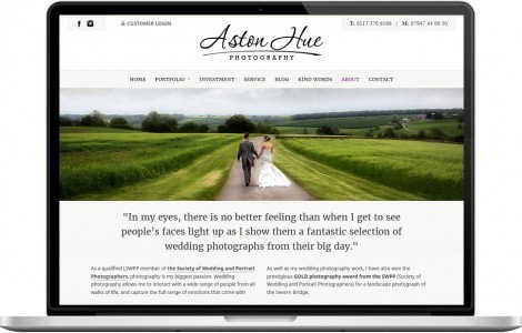Web Design Portfolio - Case Study - Aston Hue Photography