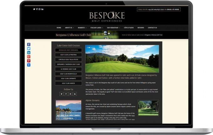 Web Design Portfolio - Case Study - Bespoke Golf Experiences