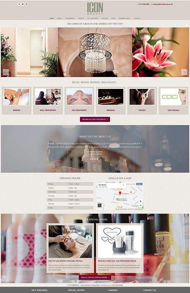 Screenshot of Bristol beauty salon website