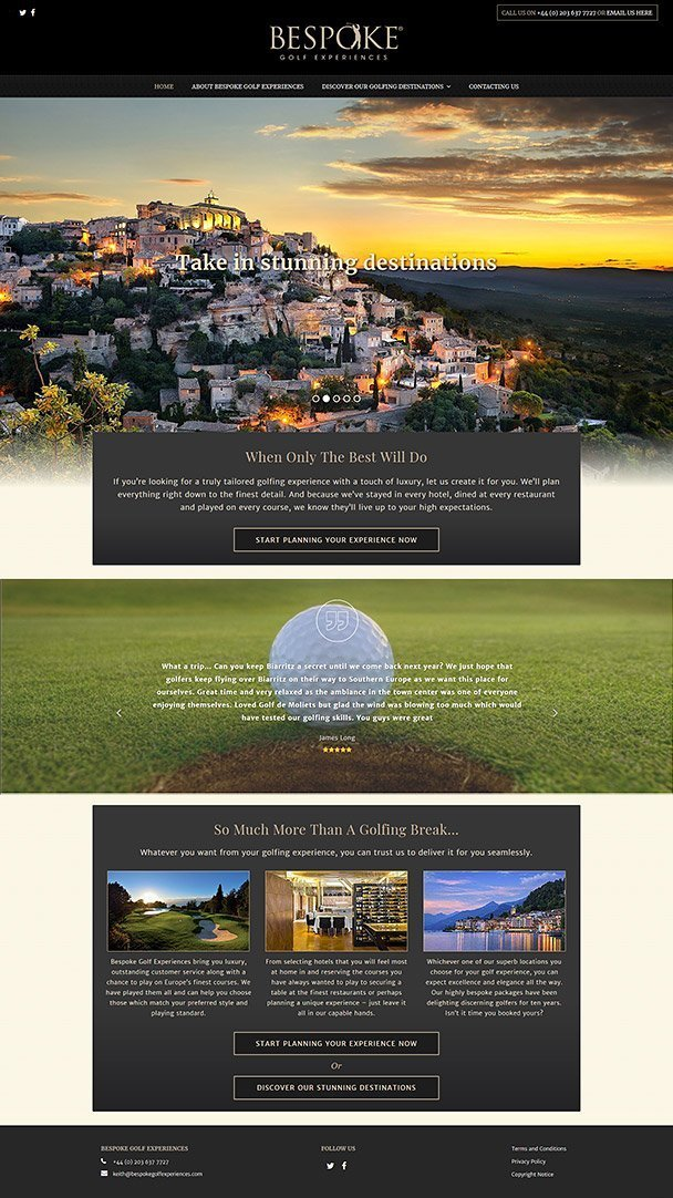 Screenshot of golf travel website
