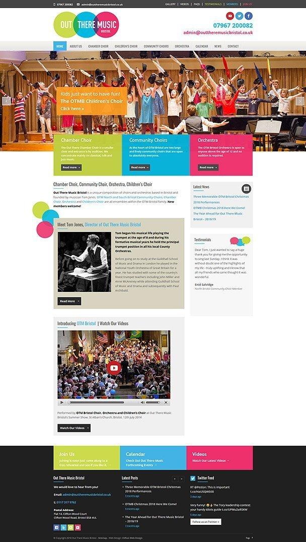 Screenshot of choir website