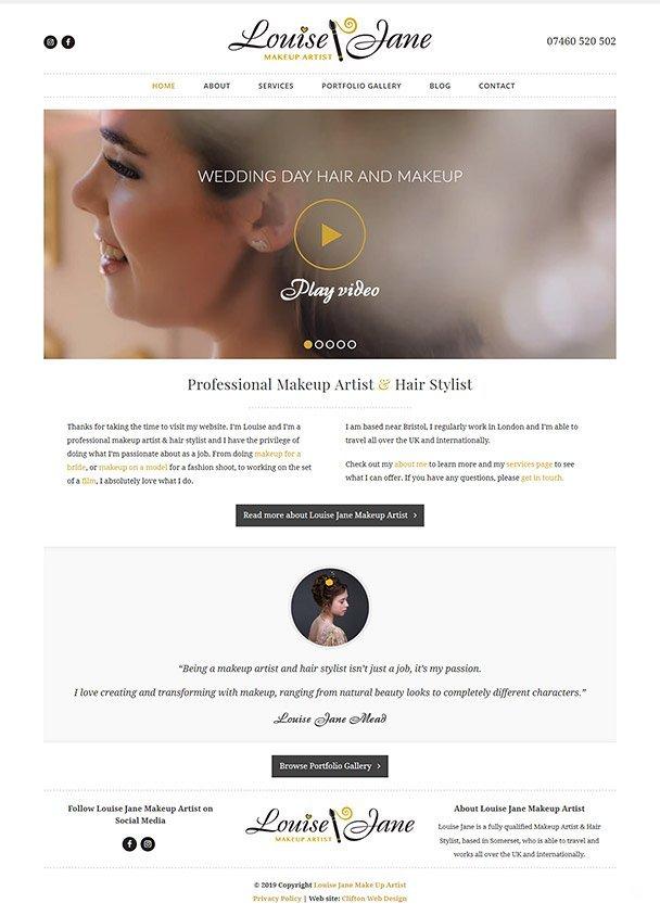 Screenshot of makeup artist website
