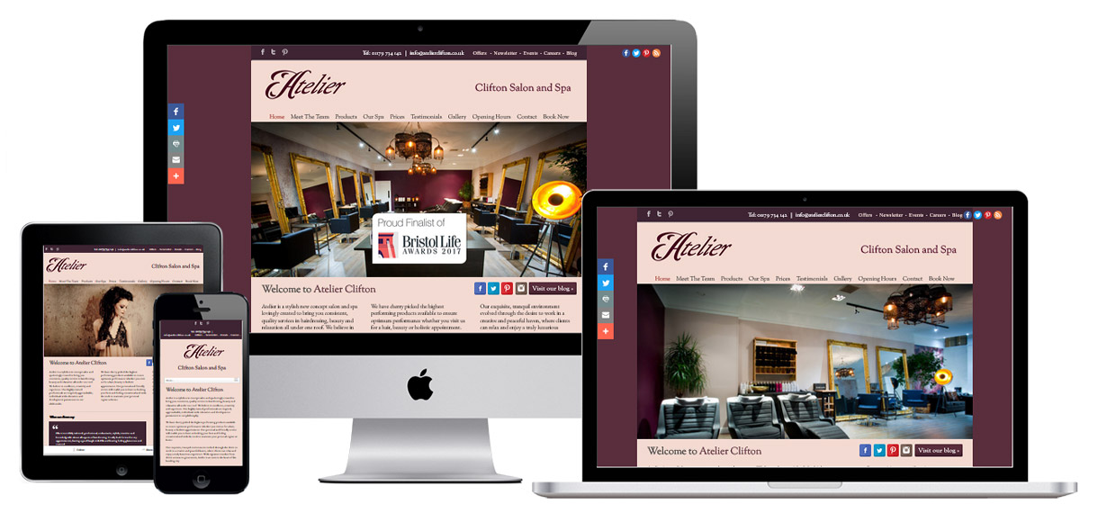 Web Design Portfolio - Case Study - Atelier Clifton - Salon & Spa Web Design