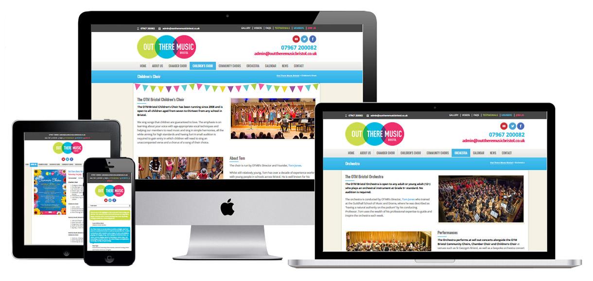 Web Design Portfolio - Case Study - Out There Music Bristol - Orchestra & Choir Website Design