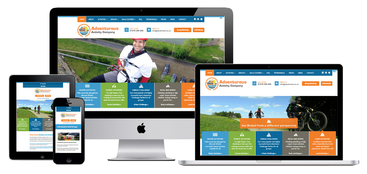 Web Design Portfolio - Case Study - Adventurous Activity Company - Websites for outdoor sports organisations