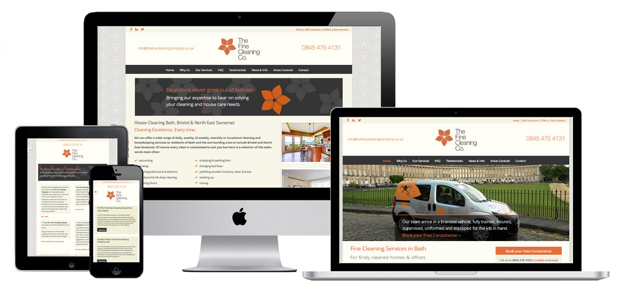 Web Design Portfolio - Case Study - The Fine Cleaning Company - Cleaning Company Website Design