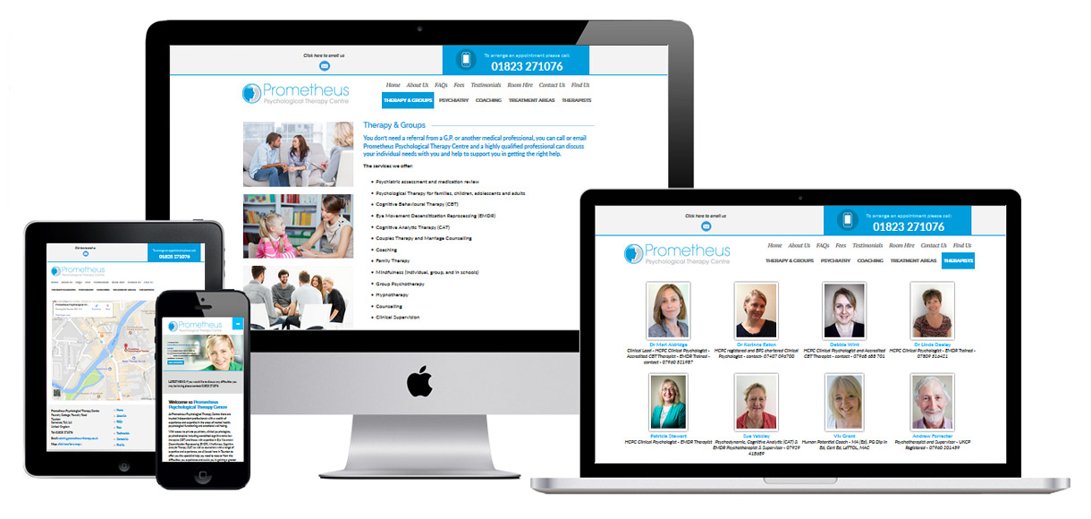 Web Design Portfolio - Case Study - Prometheus Therapy - Therapy and Counselling Website Design