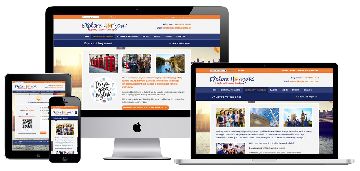 Web Design Portfolio - Case Study - Explore Horizons - Education Website Design