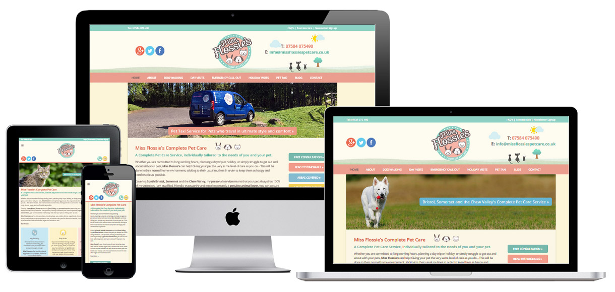 Web Design Portfolio - Case Study - Miss Flossie's - Website Design For Pet Businesses