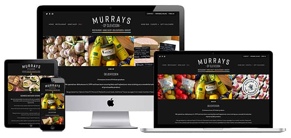 Website for restaurant - screenshot of home page