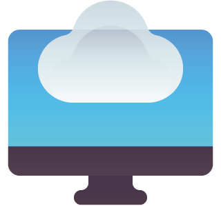 Cloud computing icon with desktop