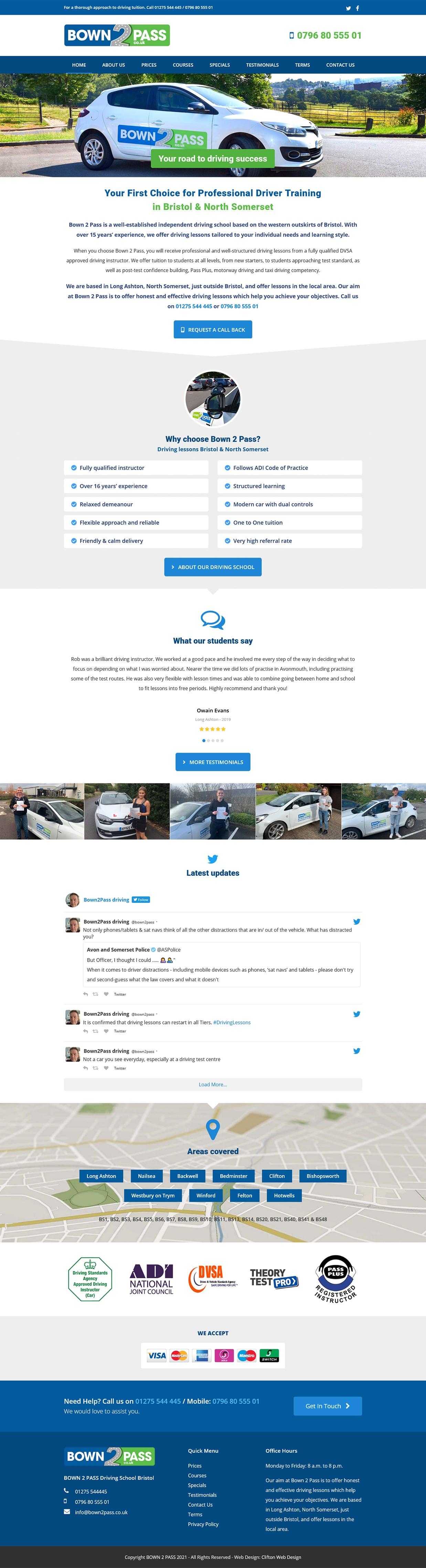 Website screenshot - Bown 2 Pass
