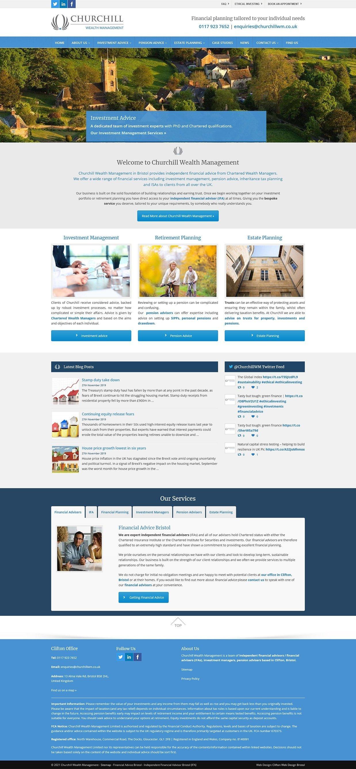 Website screenshot - ChurChill Wealth Management