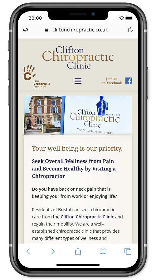 Website screenshot - Clifton Chiropractic Clinic