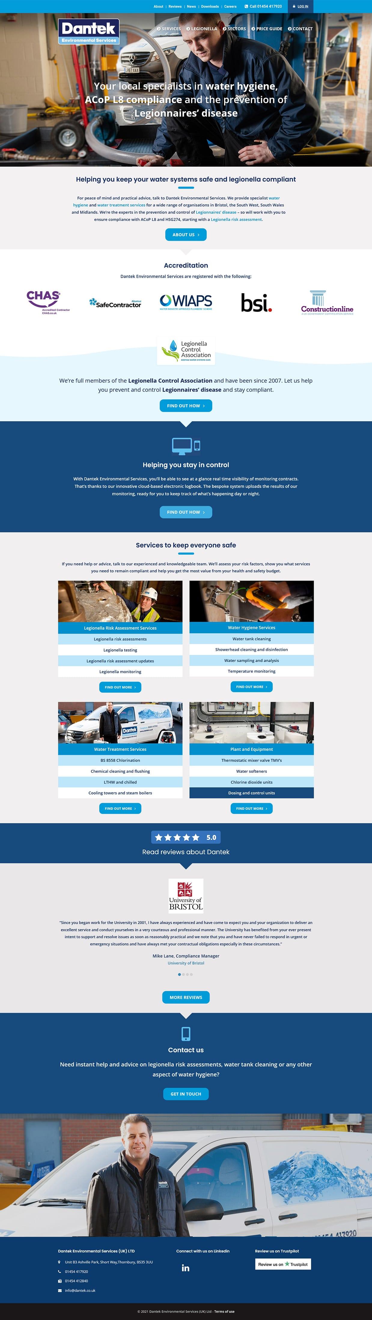 Website screenshot - Dantek