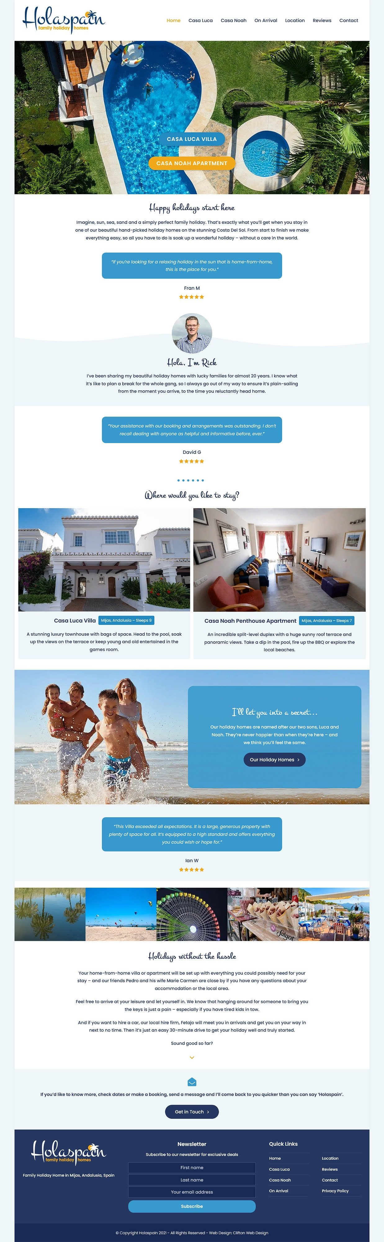 Website screenshot - Hola Spain