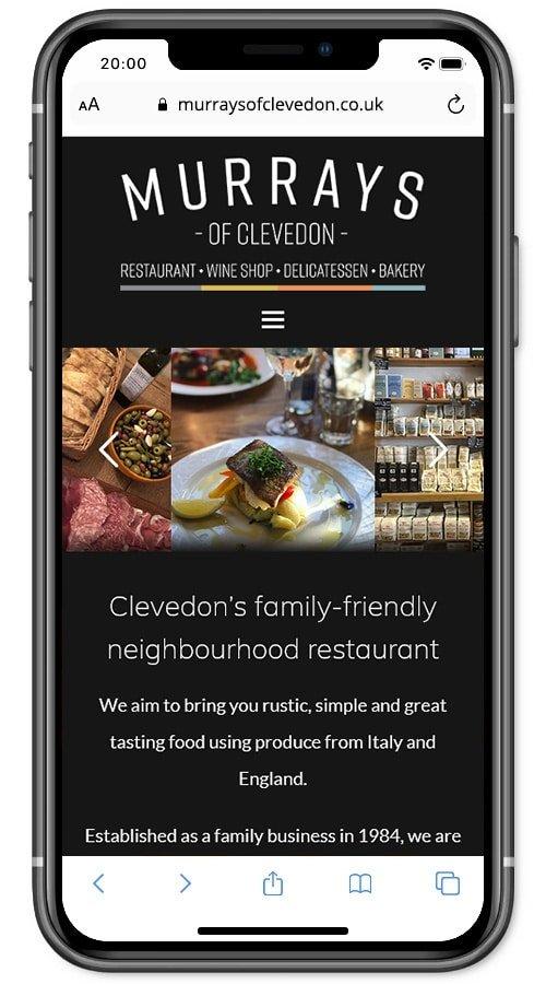 Website screenshot - Murrays of Clevedon