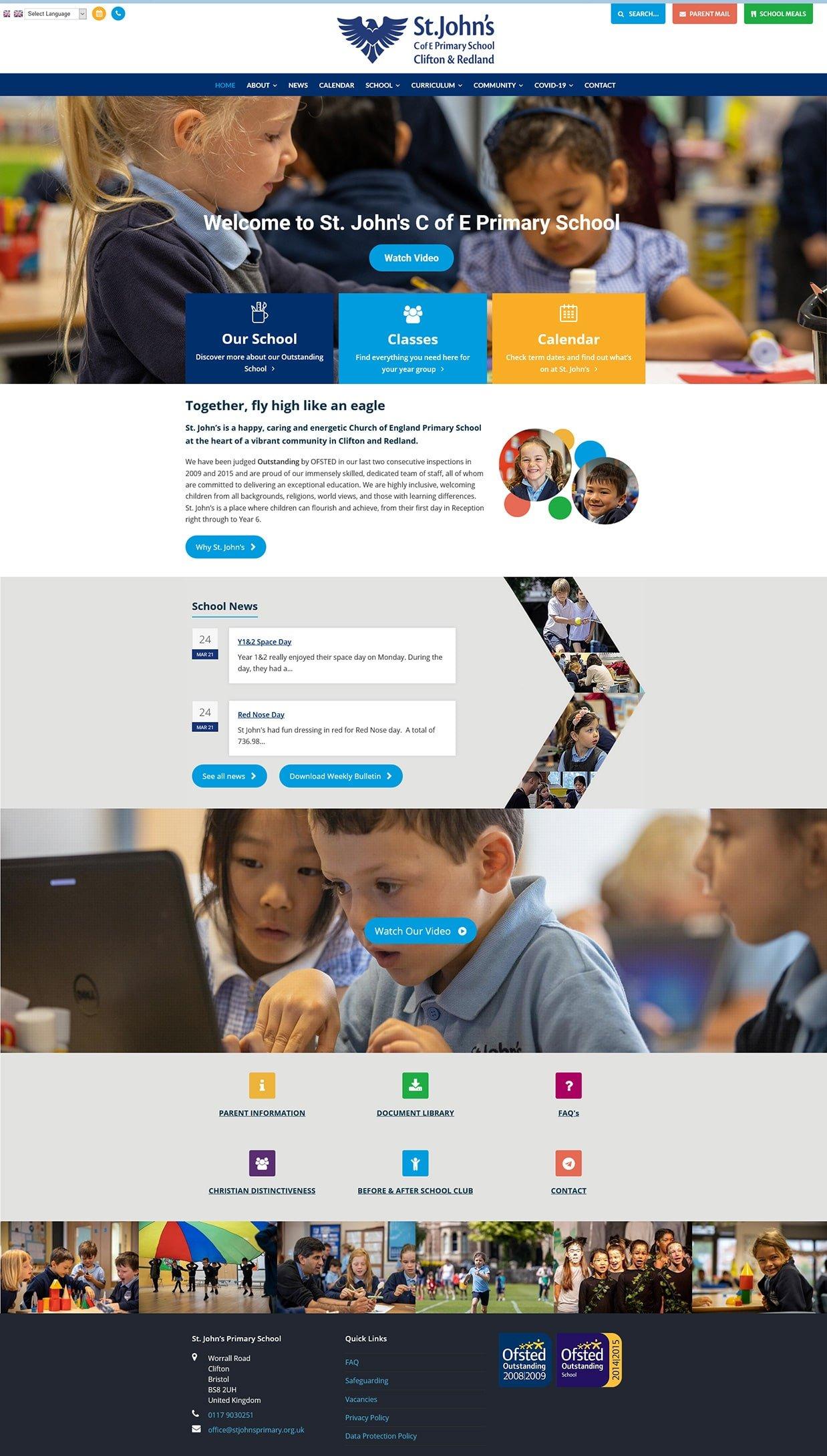 Website screenshot - St. John's Primary
