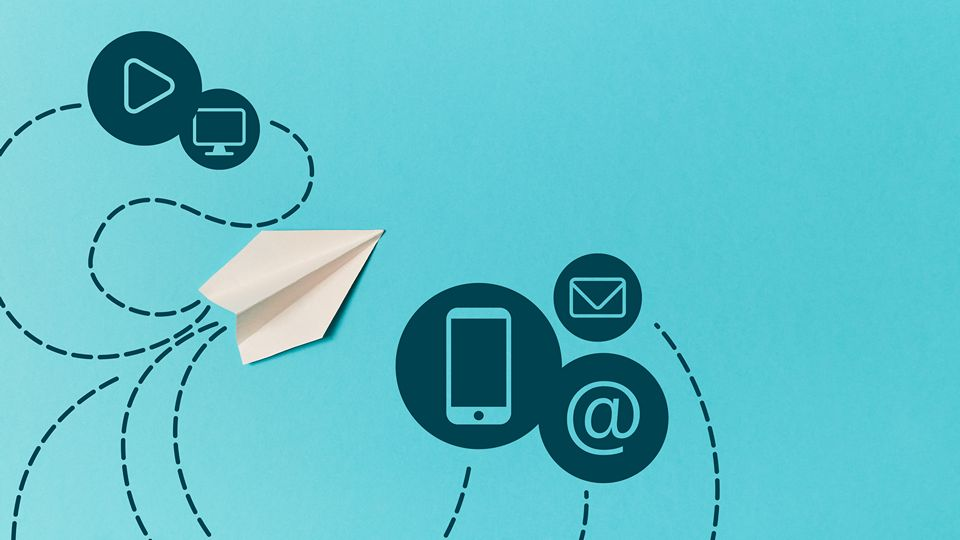Paper plane and smartphone, email, monitor, play signs isolated on blue. Email marketing and delivery.