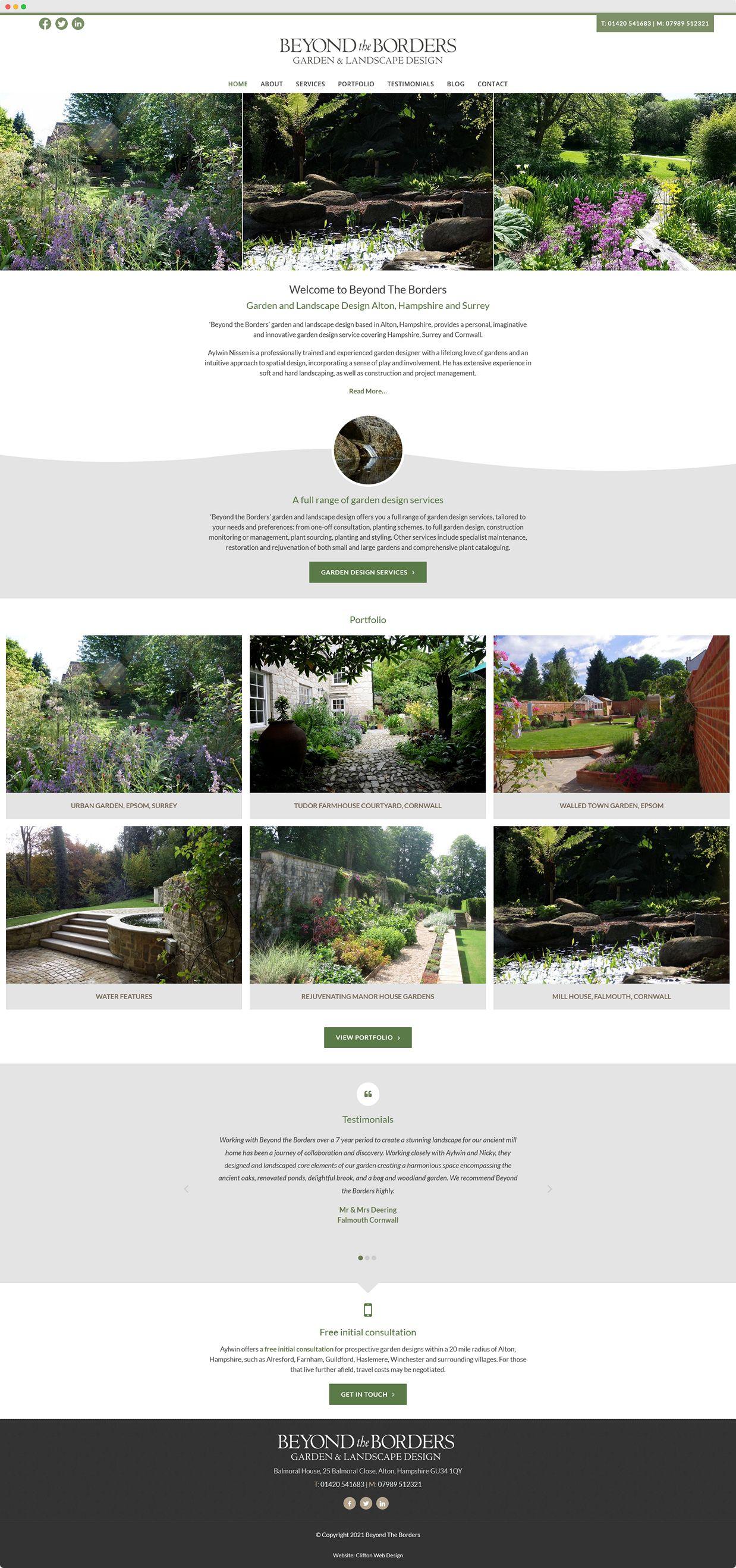 Website screenshot - Beyond the Borders Garden Design