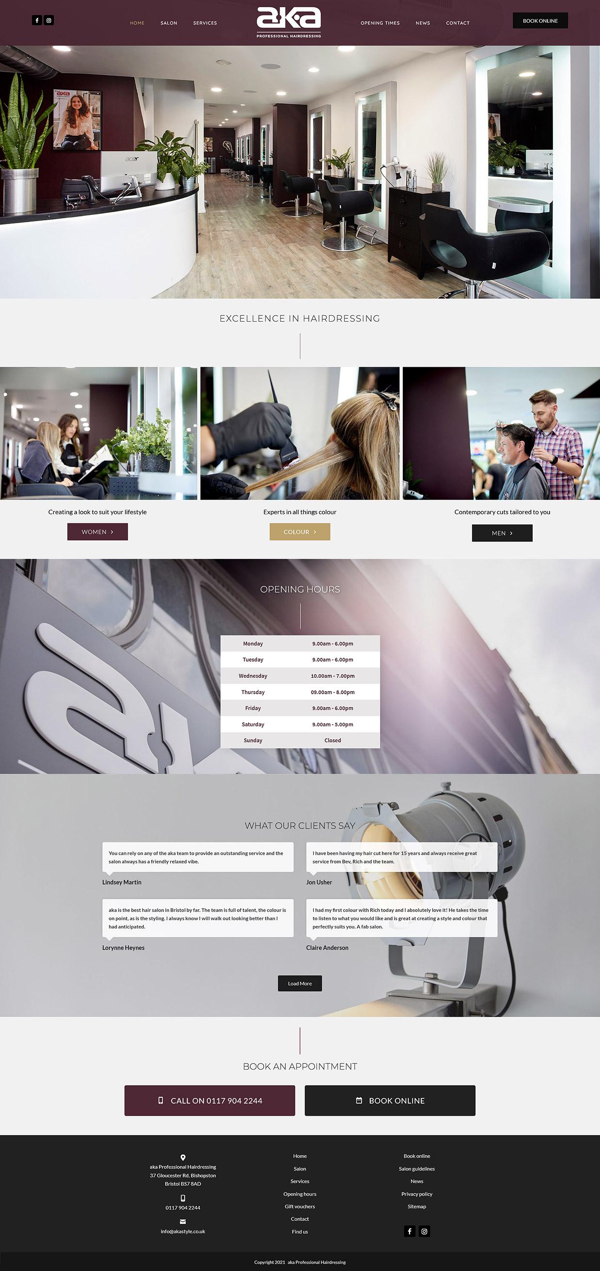 Website screenshot - aka hairdressing website home page design
