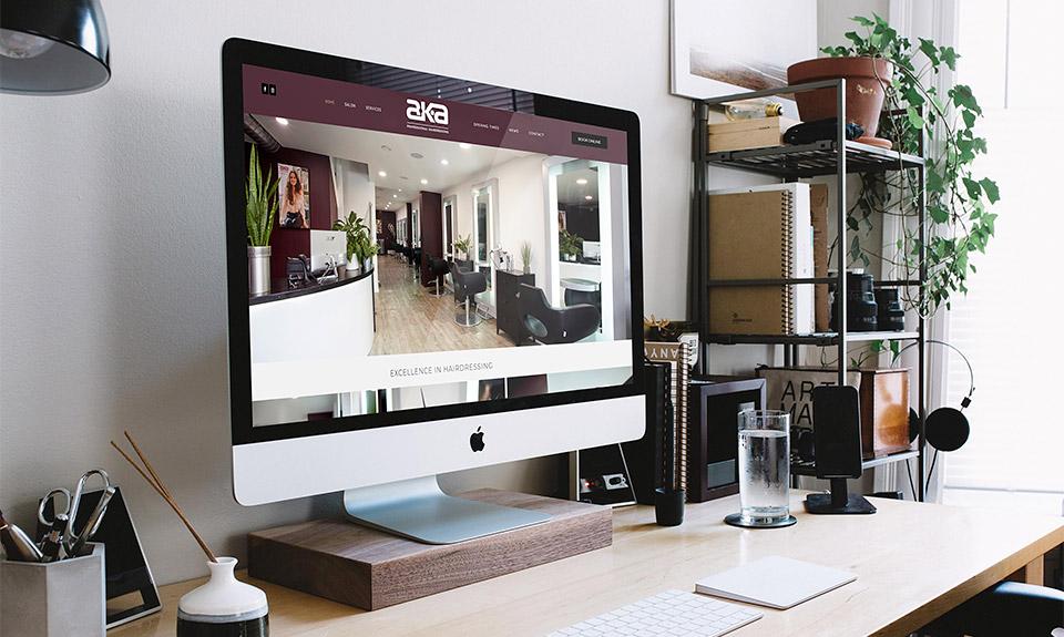 Desktop computer displaying beautiful brochure website