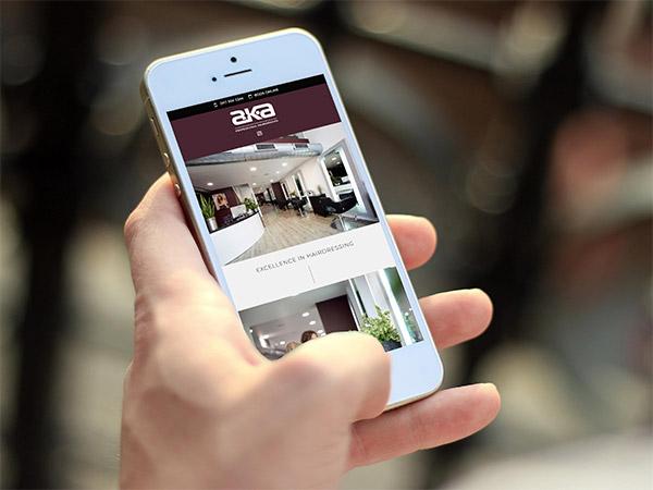 Screenshot of website on iPhone - Bristol hair salon brochure website