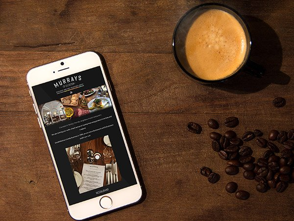 Screenshot of website on smartphone - Restaurant, deli and cafe