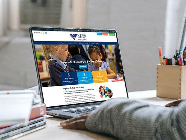 Screenshot of website on laptop - School website
