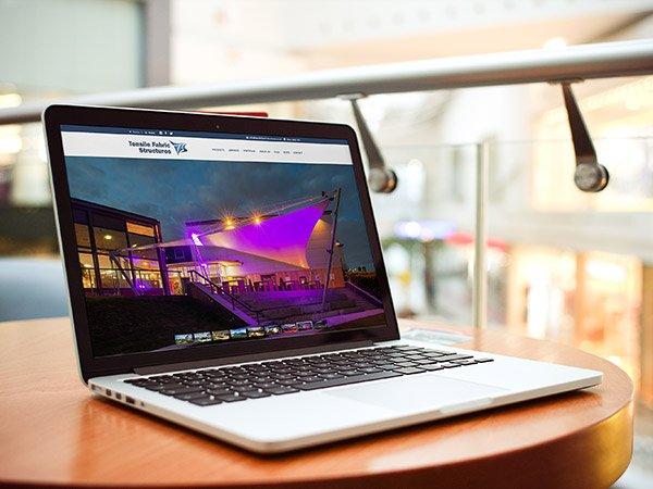 Screenshot of website on laptop - UK based canopy manufacturer