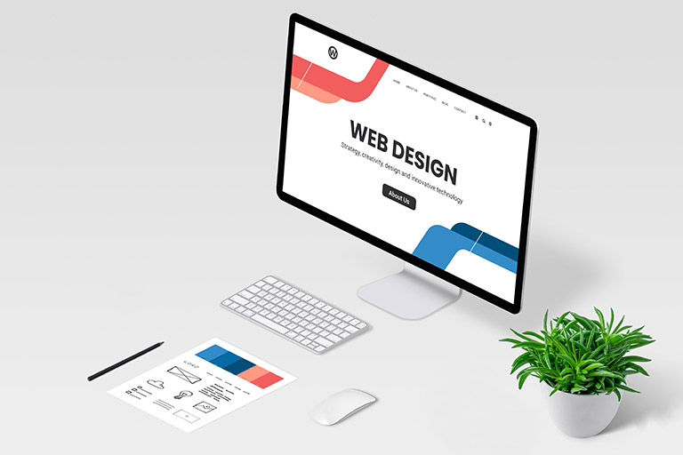 Web designer desk with computer display and modern web design page concept